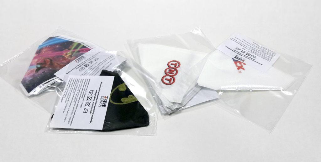 Mascherine personalizzate COVID 19 con stampa logo TNT, FED EX, HIPSTER, BATMAN