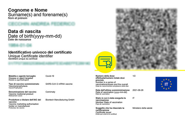 Stampa green pass su card in PVC.