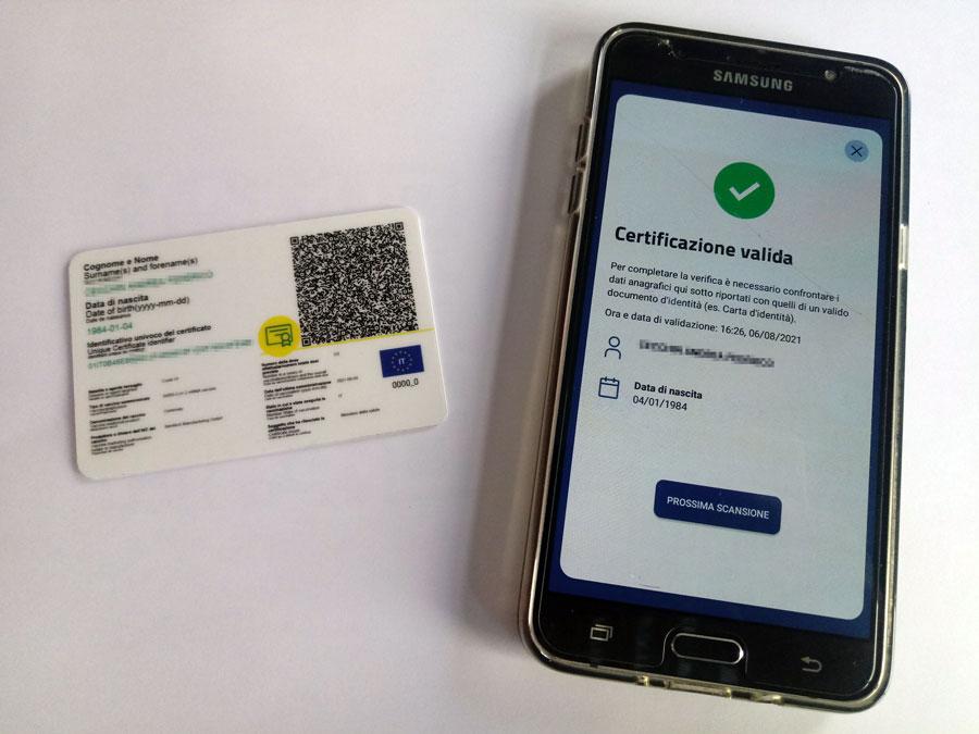 stampa green pass su card in pvc app verificac19